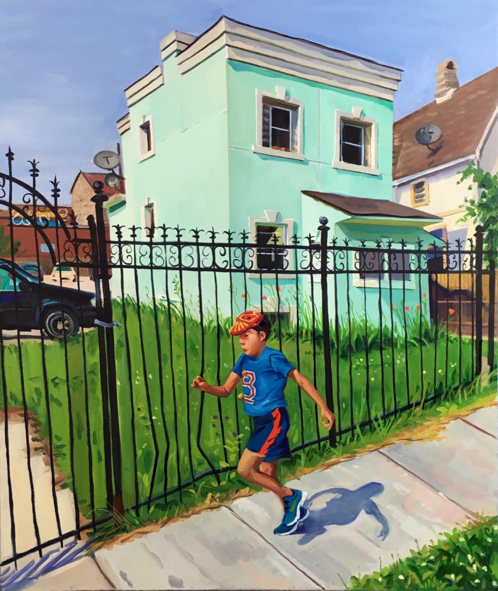 "Mint Green Stucco House, 28x24"", oil/canvas"