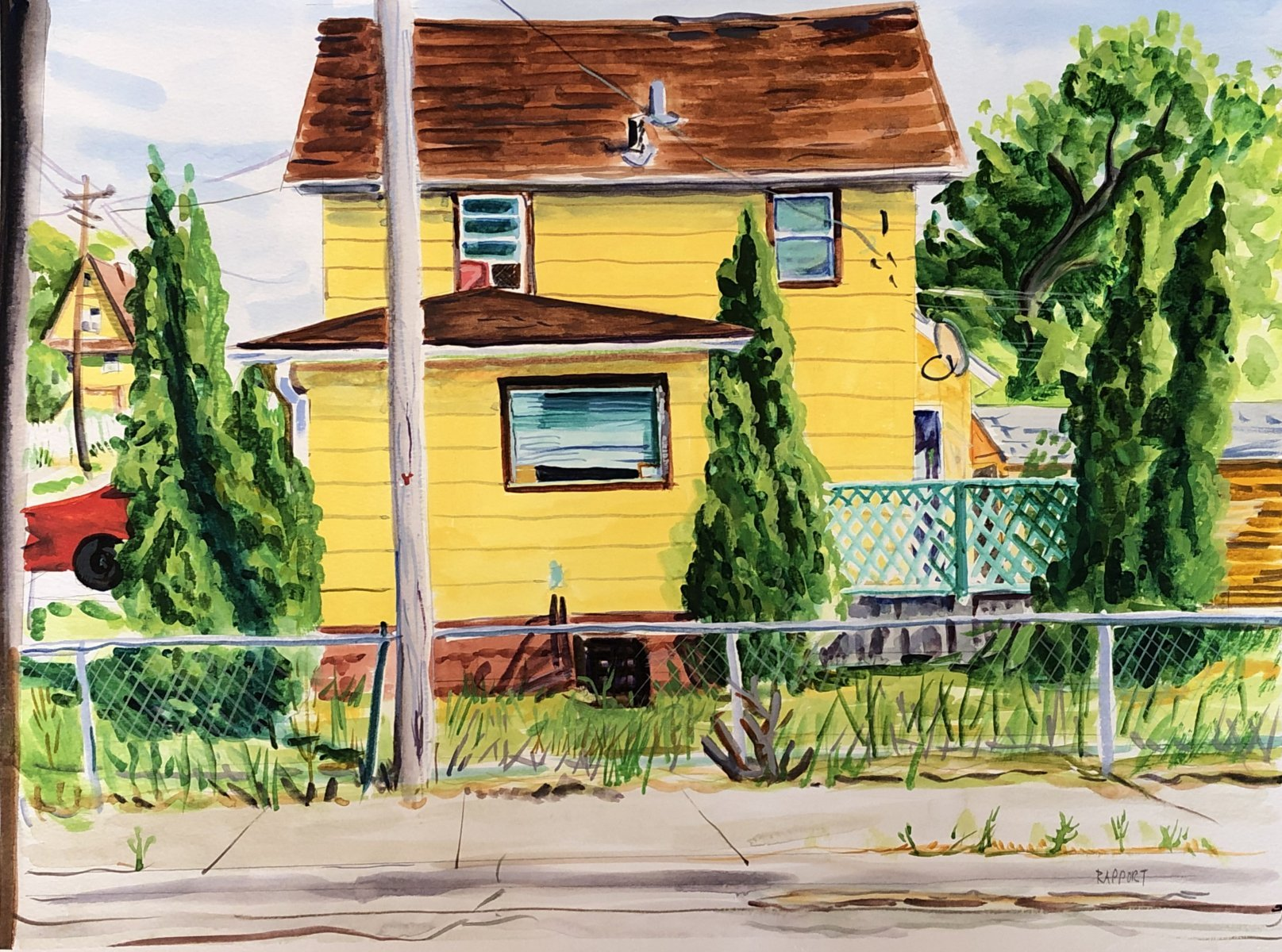 """Yellow House, Rockford, IL, 16x20"""", watercolor/arches"""