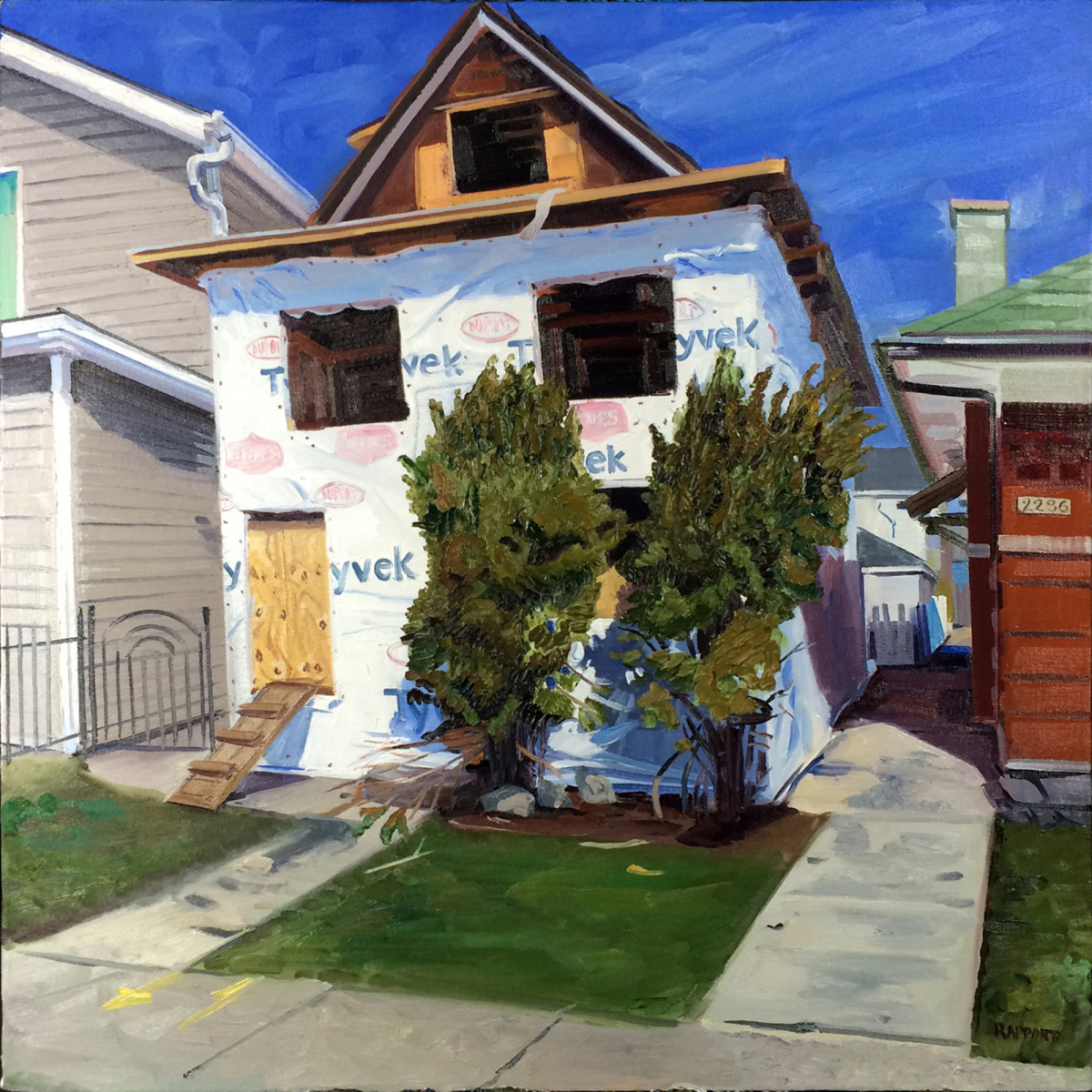 """Wrapped House, 24 x 24"""", oil/canvas"""