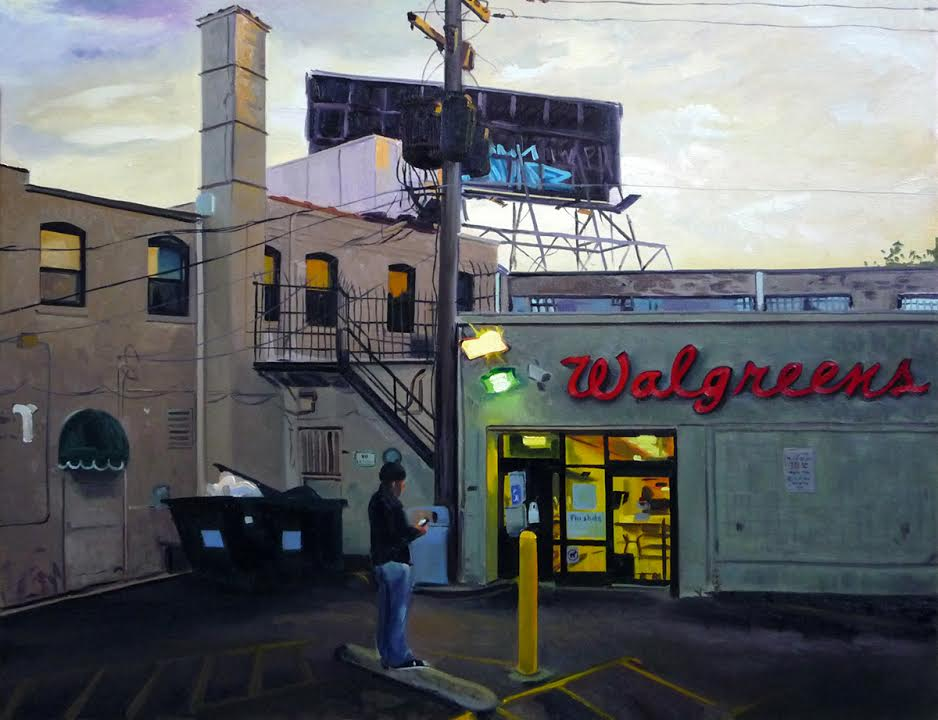 """Walgreens at Sunset, 24x30"""", oil/canvas"""